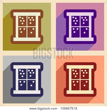 Set of flat icons with long shadow outside the window