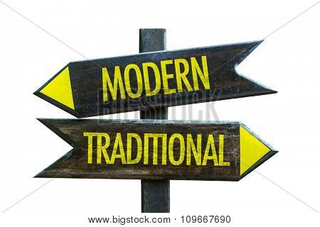 Modern - Traditional signpost isolated on white background