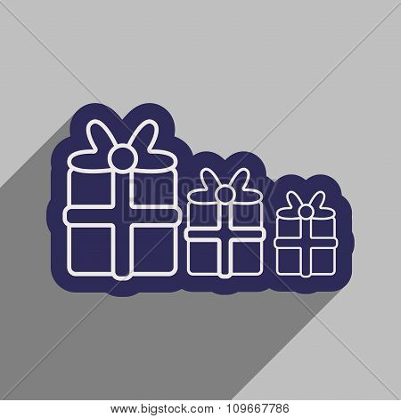 flat icon with long shadow Christmas presents