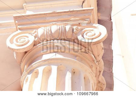 Old column, close up