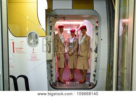 DUBAI - NOVEMBER 22, 2015: Emirates crew members on board of Airbus A380. Emirates is an airline based in Dubai, United Arab Emirates. It is the largest airline in the Middle East.