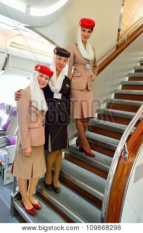 HONG KONG - NOVEMBER 22, 2015: Emirates crew members on board of Airbus A380. Emirates is an airline based in Dubai, United Arab Emirates. It is the largest airline in the Middle East.