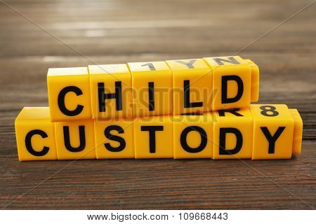 Blocks with letters regarding child-custody and divorce concept