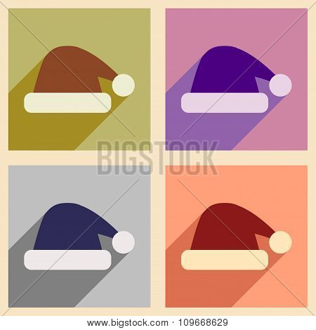 Set of flat icons with long shadow Santa hats
