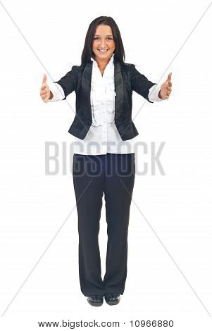 Full Length Of Woman With Open Hands