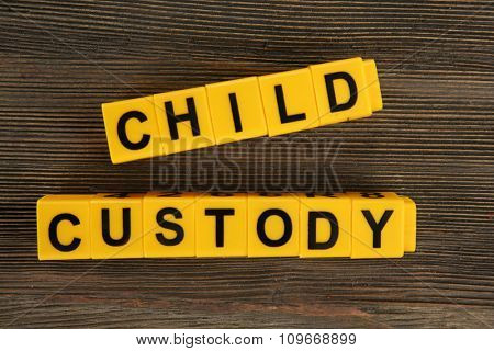 A dummy and blocks regarding child-custody and divorce concept