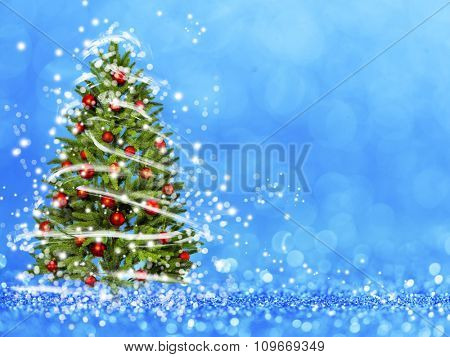 Christmas tree from the xmas lights (play with the light). Blue bokeh background