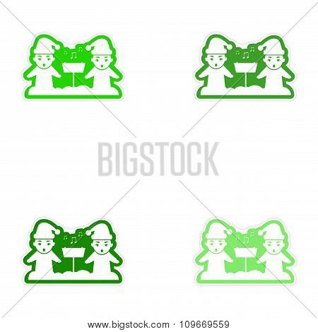 Set of paper stickers on white background children sing carols