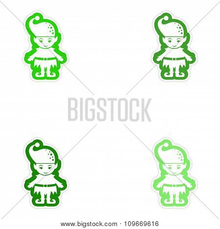 Set of paper stickers on white background Santa's elves