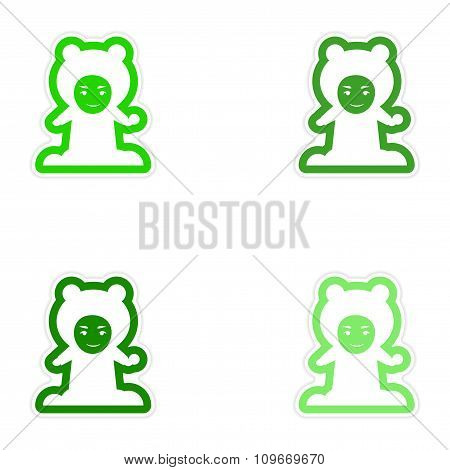 Set of paper stickers on white background child playing snowballs
