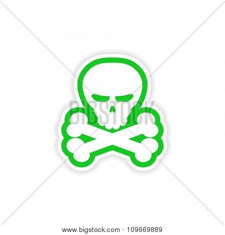 icon sticker realistic design on paper skull bones