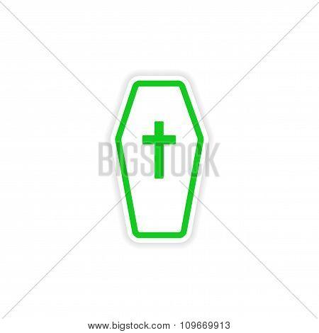 icon sticker realistic design on paper coffin