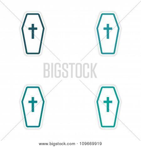 Set of 4 sticker design of paper coffin