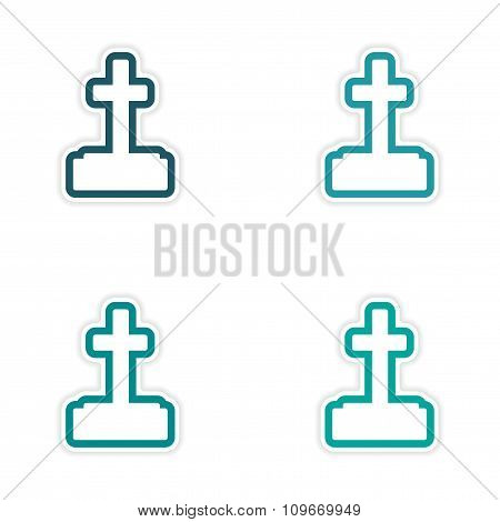Set of 4 sticker design - paper grave tombstone