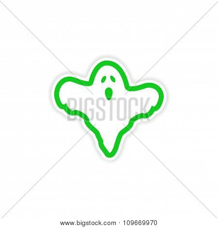 icon sticker realistic design on paper - ghost