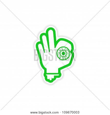 icon sticker realistic design on paper Hand zombie eyes