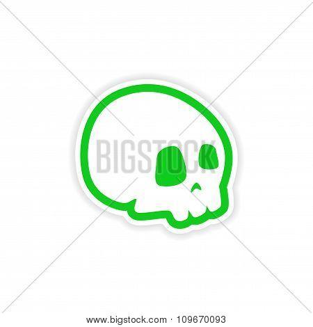 icon sticker realistic design on paper - skull