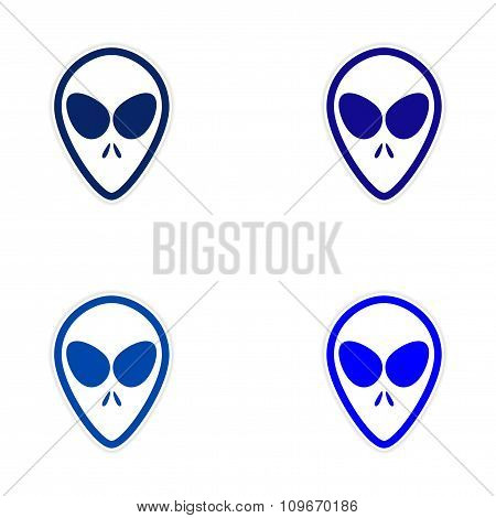 Sticker assembly alien with big eyes on a white background