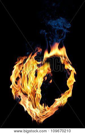 Concept: love. Fire half empty heart shape on black