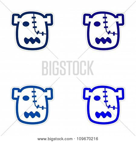 Sticker assembly head zombie on a white background
