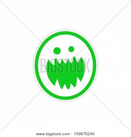 Sticker bright monster with sharp teeth on a white background