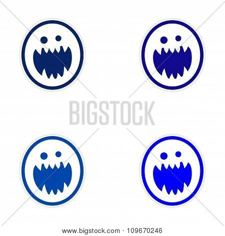 Sticker assembly bright monster with sharp teeth on white background