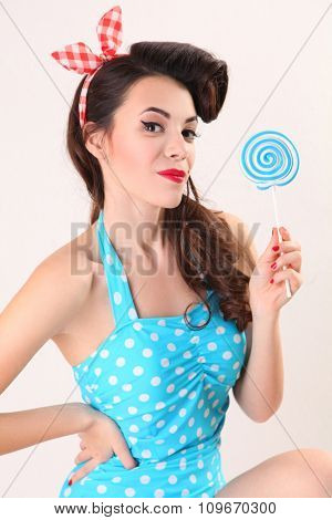 portrait of beautiful pin up woman