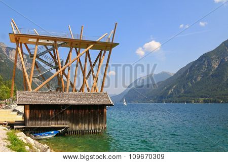 The panoramic viewing platform, Aussichtsturm, made of wood and steel at Achensee (Lake Achen) in Pertisau, Austria