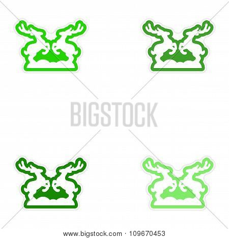 Set of paper stickers on white background pair of deer
