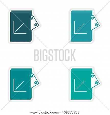 Set of stylish sticker on paper Financial Report and money