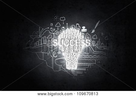 Concept of business ideas and strategy on black background