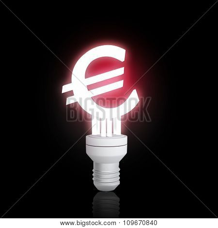Glowing light bulb with euro sign on dark background