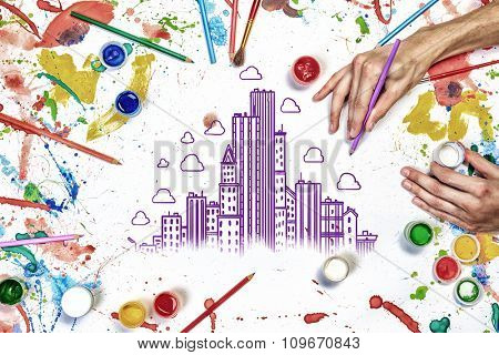 Colorful sketch of construction project on white paper