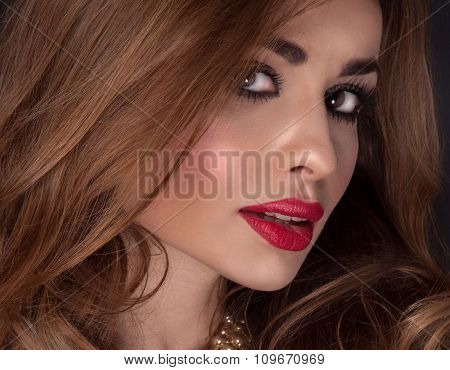 Closeup Beauty Portrait Of Attractive Woman.