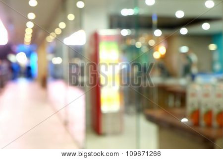 Big bright lighted store, close up unfocused