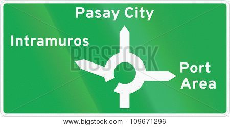 Road Sign In The Philippines - Diagrammatic Direction Sign