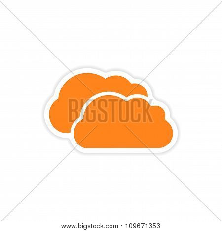 icon sticker realistic design on paper clouds