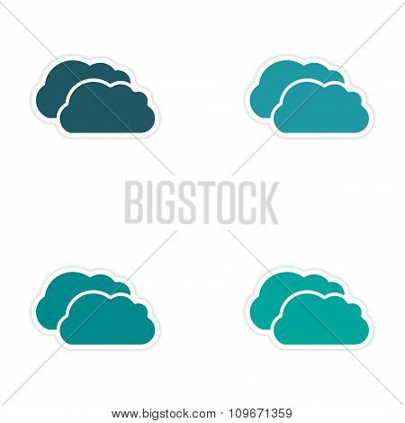 assembly realistic sticker design on paper clouds