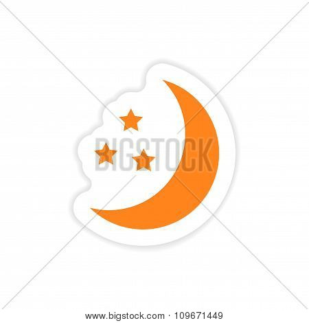 icon sticker realistic design on paper moon Star