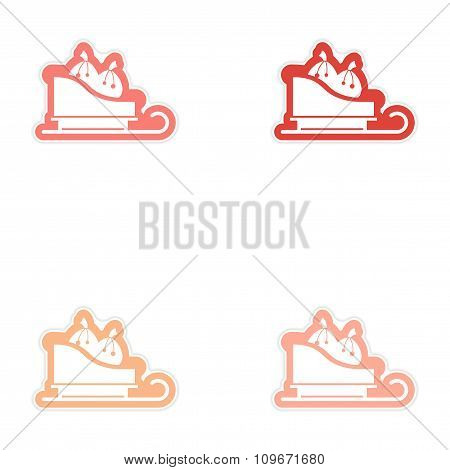 Set of paper stickers on white background Santa's sleigh