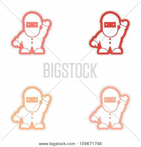 Set of paper stickers on white background Santa Claus