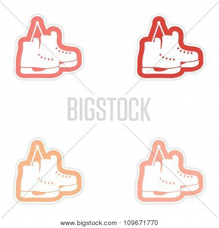 Set paper stickers on white background pair of skates