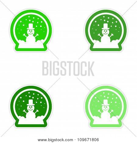 Set of paper stickers on white background snowman snow globe