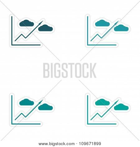 Set of stylish sticker on paper Economic graph