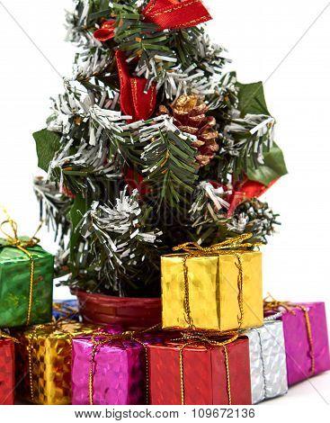 Gift Box Near Christmas Tree