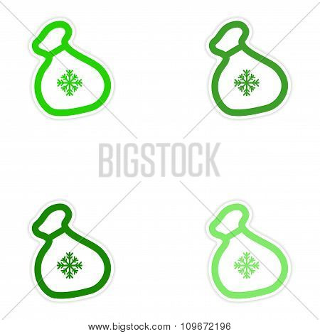 Set of paper stickers on white background Santa's sack
