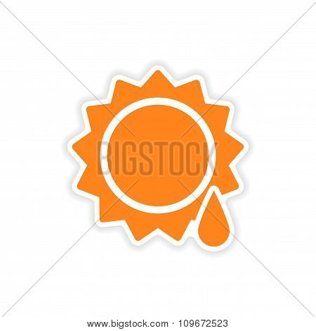 icon sticker realistic design on paper sun drop