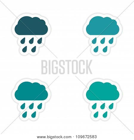 assembly realistic sticker design on paper rain cloud