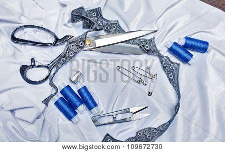 Thread, Scissors, Pins, Fabric Crafts.