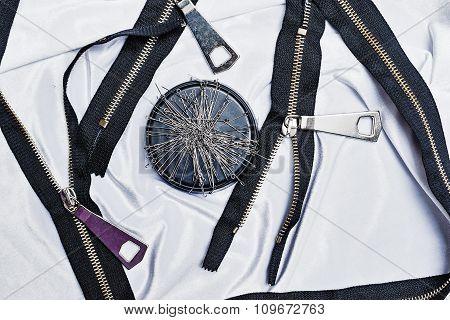 Zipper, Thread, Sewing Needles, Needlework.